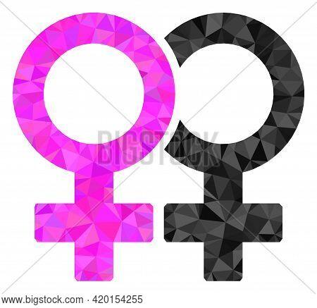 Triangle Lesbian Couple Symbol Polygonal Icon Illustration. Lesbian Couple Symbol Lowpoly Icon Is Fi