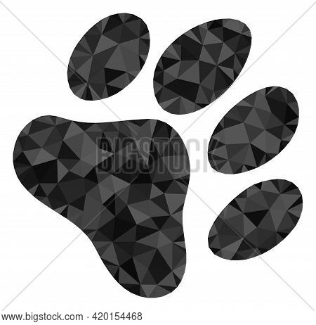 Triangle Paw Footprint Polygonal Icon Illustration. Paw Footprint Lowpoly Icon Is Filled With Triang