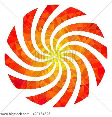 Triangle Rotation Swirl Polygonal Icon Illustration. Rotation Swirl Lowpoly Icon Is Filled With Tria