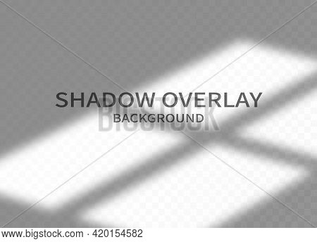 Shadow Overlay Effect Background. Transparent Shadow Of Window And Soft Light On Transparent Backgro