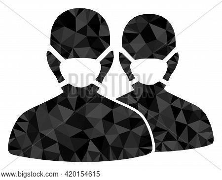 Triangle People With Masks Polygonal Icon Illustration. People With Masks Lowpoly Icon Is Filled Wit