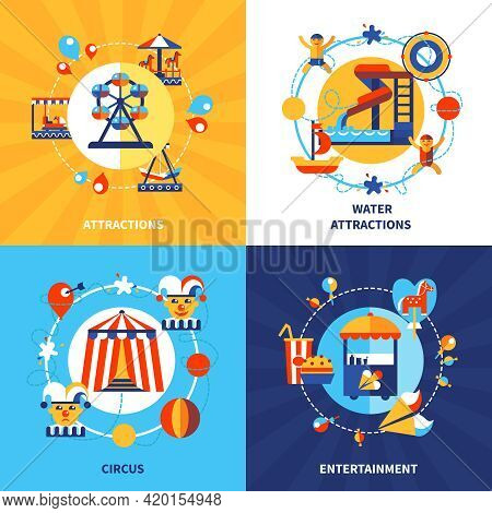 Amusement Park Fairground Attractions And Traveling Circus Show 4 Flat Icons Square Composition Post