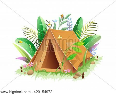 Tourist Camping Tent In Jungle Or Forest Lush Green Foliage. 3d Style Vector Illustration Of Tent In