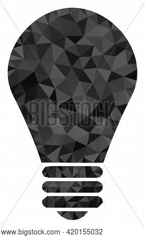 Triangle Lamp Bulb Polygonal Icon Illustration. Lamp Bulb Lowpoly Icon Is Filled With Triangles. Fla