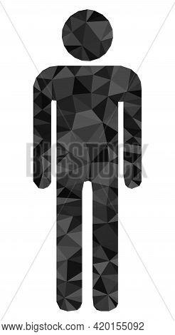 Triangle Man Figure Polygonal Icon Illustration. Man Figure Lowpoly Icon Is Filled With Triangles. F