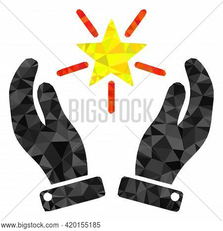 Triangle Shine Star Care Hands Polygonal Icon Illustration. Shine Star Care Hands Lowpoly Icon Is Fi