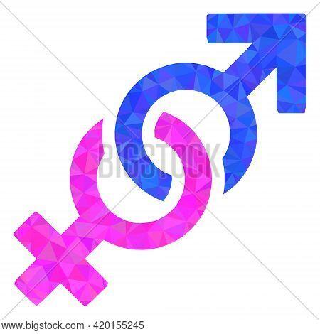 Triangle Gender Confrontation Symbol Polygonal Symbol Illustration. Gender Confrontation Symbol Lowp