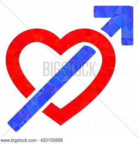Triangle Heart Penetration Arrow Polygonal Symbol Illustration. Heart Penetration Arrow Lowpoly Icon