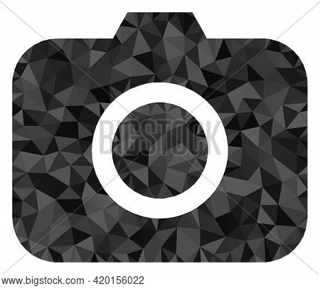Triangle Photocamera Polygonal Icon Illustration. Photocamera Lowpoly Icon Is Filled With Triangles.