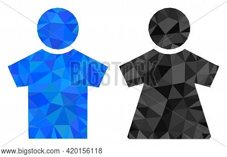 Triangle People Couple Polygonal Icon Illustration. People Couple Lowpoly Icon Is Filled With Triang