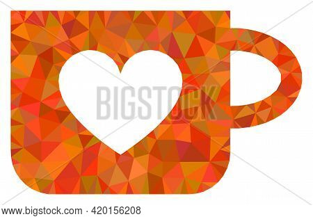 Triangle Lovely Cup Polygonal Icon Illustration. Lovely Cup Lowpoly Icon Is Filled With Triangles. F