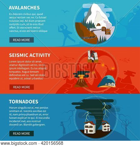 Natural Disasters Flat Horizontal Banners Set With Avalanches Seismic Activity And Tornadoes Vector