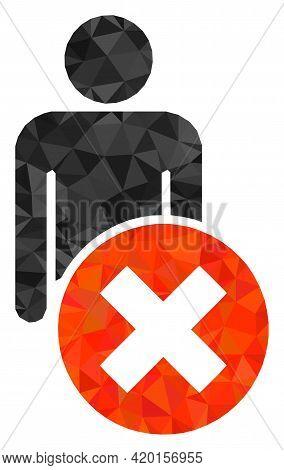 Triangle Delete Man Polygonal Icon Illustration. Delete Man Lowpoly Icon Is Filled With Triangles. F