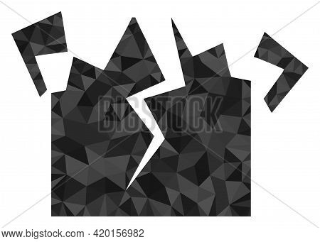 Triangle Destruction Polygonal Symbol Illustration. Destruction Lowpoly Icon Is Filled With Triangle