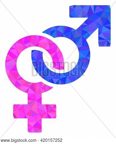 Triangle Straight Sex Symbol Polygonal Icon Illustration. Straight Sex Symbol Lowpoly Icon Is Filled