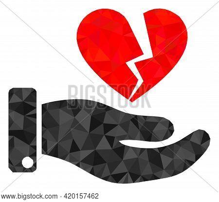 Triangle Break Heart Offer Polygonal Icon Illustration. Break Heart Offer Lowpoly Icon Is Filled Wit