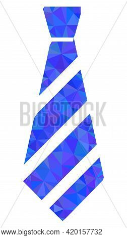 Triangle Striped Tie Polygonal Symbol Illustration. Striped Tie Lowpoly Icon Is Filled With Triangle
