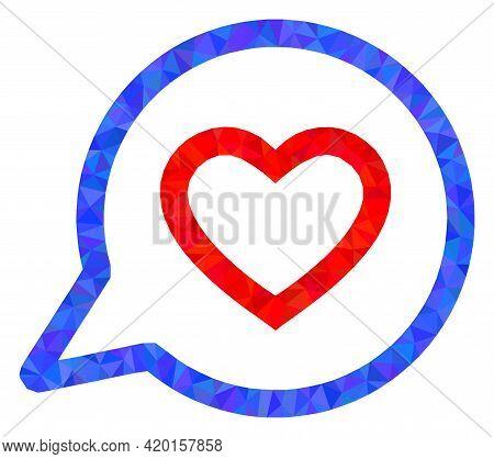 Triangle Romantic Heart Message Polygonal Symbol Illustration. Romantic Heart Message Lowpoly Icon I