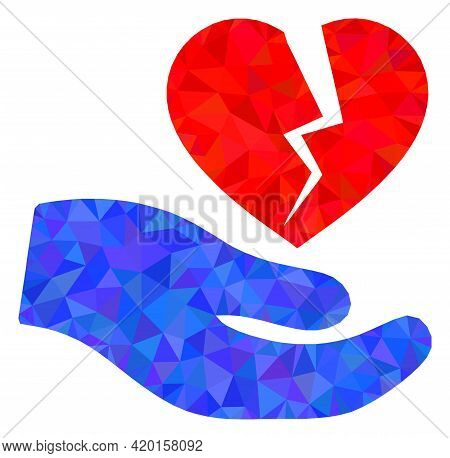 Triangle Broken Heart Offer Hand Polygonal Symbol Illustration. Broken Heart Offer Hand Lowpoly Icon