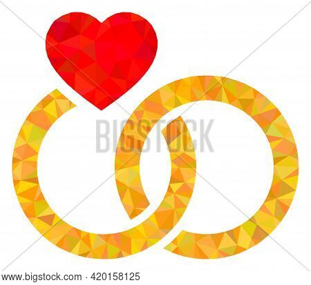 Triangle Marriage Rings Polygonal Icon Illustration. Marriage Rings Lowpoly Icon Is Filled With Tria