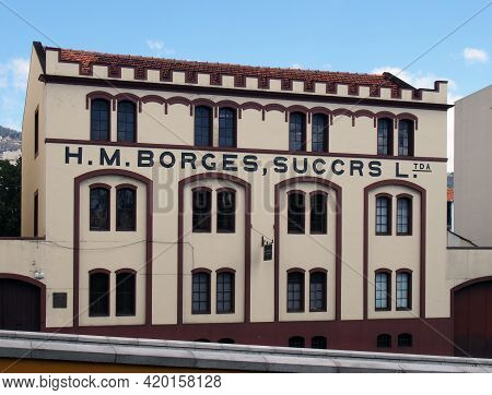 Funchal, Madeira, Portugal - 15 March 2019: The Historic 19th Century Headquarters Of The H M Borges