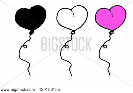 Vector Balloon Set In The Shape Of A Pink Heart. Vector Set Of Isolated Elements From A Hand-drawn B