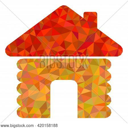 Triangle Wooden House Polygonal Icon Illustration. Wooden House Lowpoly Icon Is Filled With Triangle