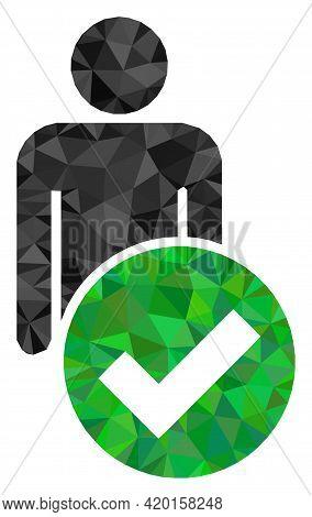 Triangle Valid Man Figure Polygonal Icon Illustration. Valid Man Figure Lowpoly Icon Is Filled With