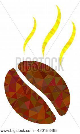 Triangle Aroma Coffee Bean Polygonal Icon Illustration. Aroma Coffee Bean Lowpoly Icon Is Filled Wit