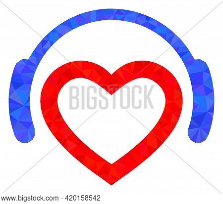 Triangle Favourite Dj Headphones Polygonal Icon Illustration. Favourite Dj Headphones Lowpoly Icon I