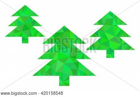 Triangle Fir Tree Forest Polygonal Icon Illustration. Fir Tree Forest Lowpoly Icon Is Filled With Tr