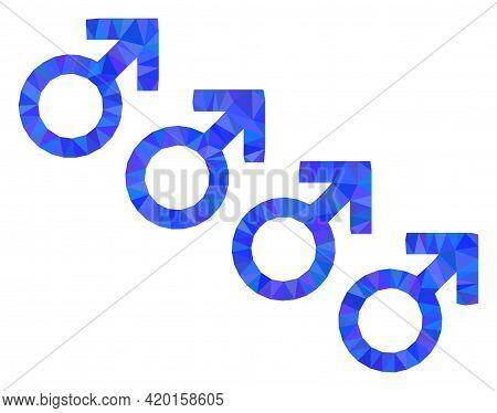 Triangle Male Cohort Symbol Polygonal Icon Illustration. Male Cohort Symbol Lowpoly Icon Is Filled W