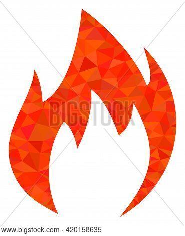 Triangle Fire Flame Polygonal Icon Illustration. Fire Flame Lowpoly Icon Is Filled With Triangles. F