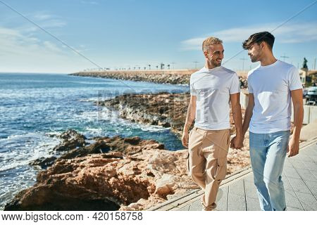 Young gay couple smiling happy walking at the beach promenade.