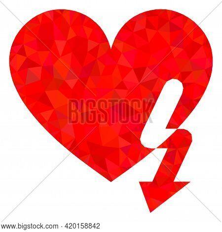 Triangle Love Heart Strike Polygonal Symbol Illustration. Love Heart Strike Lowpoly Icon Is Filled W