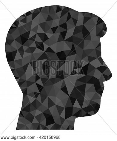 Triangle Man Head Profile Polygonal Symbol Illustration. Man Head Profile Lowpoly Icon Is Filled Wit