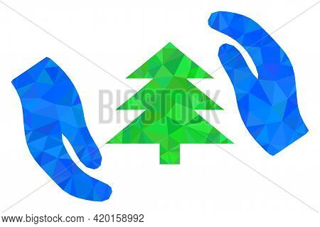 Triangle Fir Tree Care Hands Polygonal Icon Illustration. Fir Tree Care Hands Lowpoly Icon Is Filled