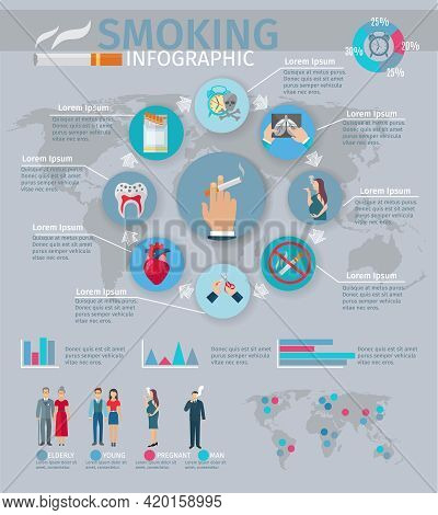 Smoking Infographics Set With Tobacco Harm Symbols And Charts Vector Illustration
