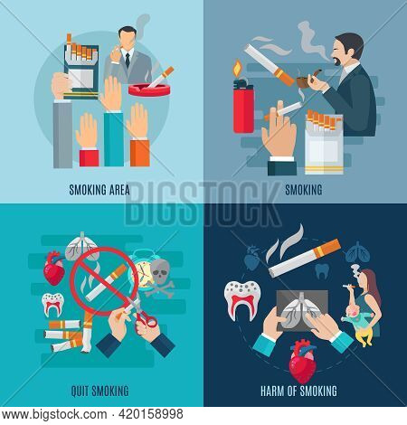Smoking Design Concept Set With Harm And Danger Flat Icons Isolated Vector Illustration