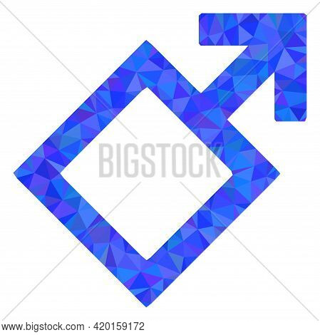 Triangle Male Symbol Polygonal Icon Illustration. Male Symbol Lowpoly Icon Is Filled With Triangles.