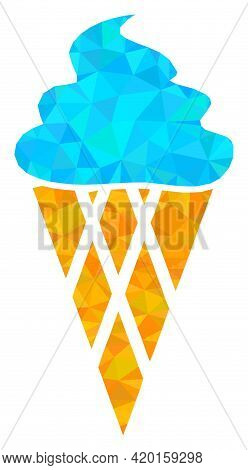Triangle Icecream Polygonal Icon Illustration. Icecream Lowpoly Icon Is Filled With Triangles. Flat