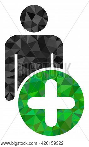 Triangle Add Man Figure Polygonal Symbol Illustration. Add Man Figure Lowpoly Icon Is Filled With Tr