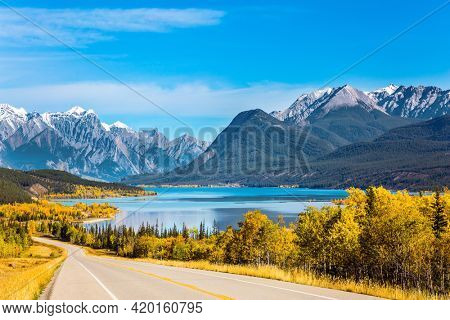 The first snow has already fallen on the peaks of Canadian Rockies. Magnificent Indian summer in the Canadian Rockies. Asphalt highway leads to Abraham Lake.