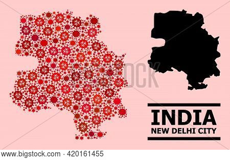 Vector Covid-2019 Composition Map Of New Delhi City Combined For Pandemic Posters. Red Mosaic Map Of