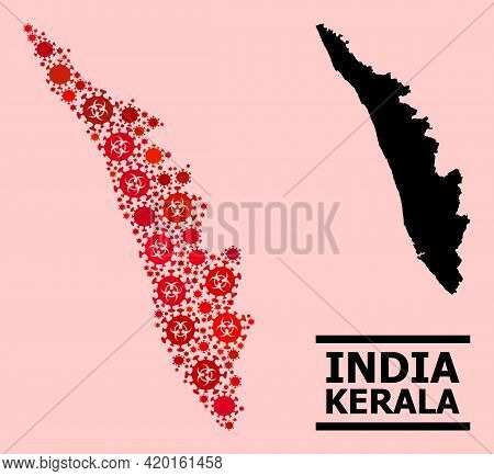 Vector Covid Mosaic Map Of Kerala State Done For Lockdown Posters. Red Mosaic Map Of Kerala State Is