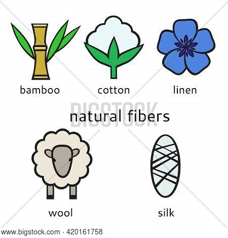 Set Of Vector Icons Of Natural Fibers, Silk, Linen, Bamboo, Cotton And Wool. Vector Illustration.