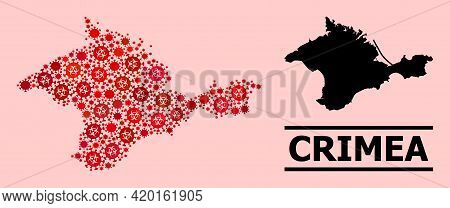 Vector Covid-2019 Mosaic Map Of Crimea Combined For Hospital Illustrations. Red Mosaic Map Of Crimea