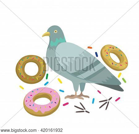 Original Vector Illustration With Pigeon And Donuts.