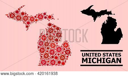 Vector Covid Mosaic Map Of Michigan State Designed For Vaccination Wallpapers. Red Mosaic Map Of Mic