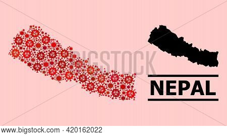 Vector Covid-2019 Mosaic Map Of Nepal Constructed For Doctor Advertisement. Red Mosaic Map Of Nepal
